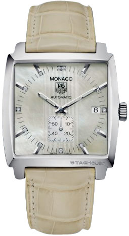 Tag Heuer Monaco Series Fashionable Diamond Mother-of-Pearl Cream Automatic Unisex Watch-WW2113.FC6215
