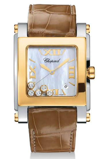 Chopard Happy Sport Series Diamond Two Tone Stainless Steel Ladies Swiss Quartz Wristwatch 288471