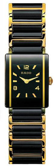 Rado Integral Series Black Ceramic with 18kt Yellow Gold Quartz Mini Ladies Watch R20383192