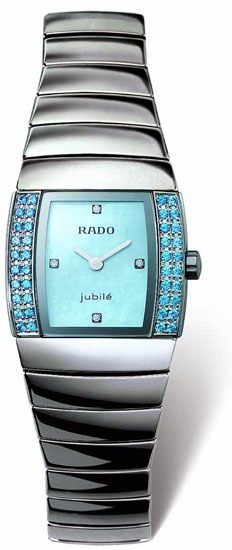 Rado Sintra Series Platinum-tone Ceramic Blue Diamond Mini Ladies Watch R13580912