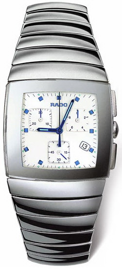 Rado Sintra Series Platinum-Tone Ceramic Chronograph Mens Watch-R13434112
