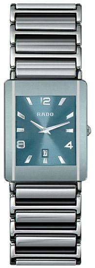 Rado Integral Series Midsize Platinum-tone Ceramic Mens Watch R20484202 in Blue