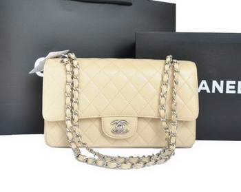 Chanel A1112 2.55 Series Flap Bag Original Caviar Leather Apricot