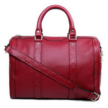 Hot Style Gucci Vintage Web Red Leather Boston Bag 247205 AP01G 6233 Red
