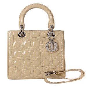 Lady Dior Bag mini Bag D9601 Apricot Patent Leather Silver