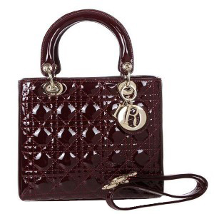 Lady Dior Bag mini Bag D9601 Burgundy Patent Leather Gold