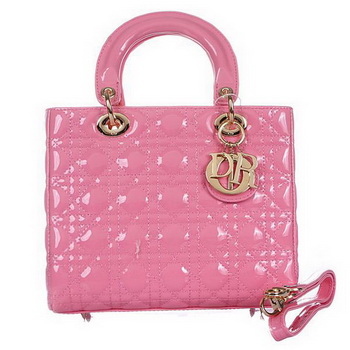 Lady Dior Bag mini Bag D9601 Pink Patent Leather Gold