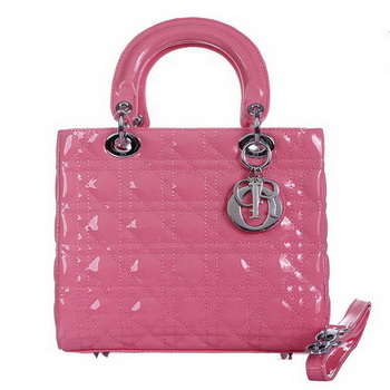 Lady Dior Bag mini Bag D9601 Pink Patent Leather Silver