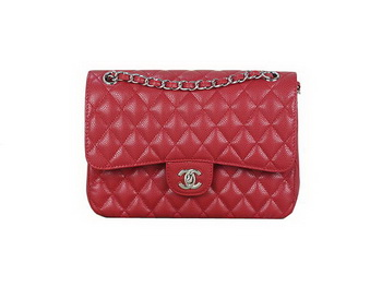 Chanel 2.55 Series Flap Bag Red Original Cannage Patterns Leather A1112 Silver