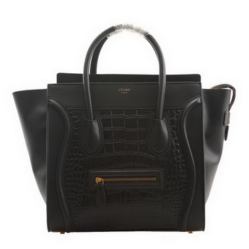 Celine Luggage Medium Shopper Bag Croco Leather 98170 Black