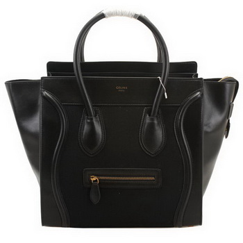 Celine Luggage Medium Shopper Bag Suede&Calf Leather 98170 Black