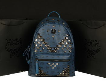 MCM Stark Backpack Jumbo in Calf Leather 8100 RoyalBlue