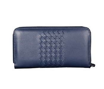 Bottega Veneta Intrecciato Nappa Zip Around Wallet BV189 RoyalBlue