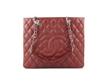 Chanel A50995 Maroon Original Cannage Leather Shoulder Bag Silver