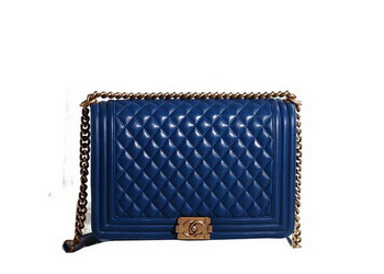 Chanel Boy Flap Shoulder Bag in RoyalBlue Original Leather Gold