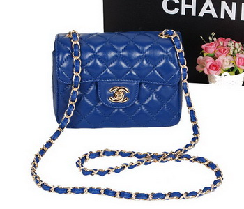 Chanel 1115 Classic mini Flap Bag RoyalBlue Sheepskin Leather Gold