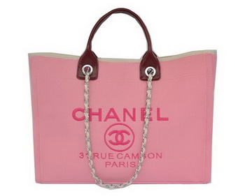 Chanel Large Canvas Tote Shopper Bag A67012 Peach&Maroon