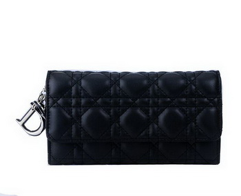 Dior Bi-Flod Wallet in Lambskin Leahter CD086 Black