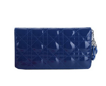 Lady Dior Escapade Wallet Patent Leahter CD189 Blue