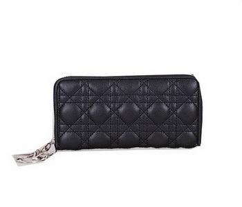 Lady Dior Escapade Wallet Sheepskin Leahter CD811 Black
