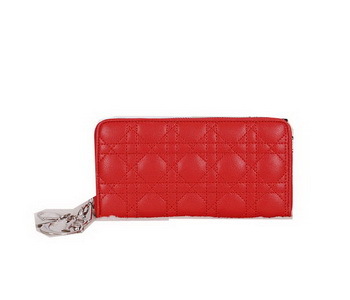 Lady Dior Escapade Wallet Sheepskin Leahter CD811 Red