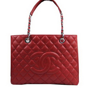 Chanel Classic Coco Bag Red GST Caviar Leather A50995 Silver