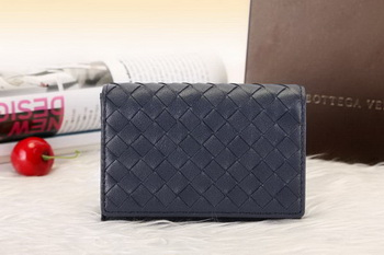 Bottega Veneta Shock Intrecciato Washed Vintage Card Case 133945 Royal