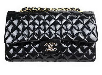 Chanel 2.55 Series Bags Black Original Patent Leather A1112 Gold