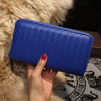 Bottega Veneta Intrecciato Nappa Zip Around Wallets 114073 Blue