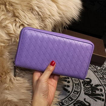 Bottega Veneta Intrecciato Nappa Zip Around Wallets 114073 Lavender