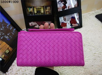 Bottega Veneta Intrecciato Nappa Zip Around Wallet BV5800 Rose