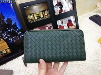 Bottega Veneta Intrecciato Nappa Zip Around Wallet BV5808 Green