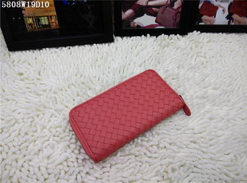 Bottega Veneta Intrecciato Nappa Zip Around Wallet BV5808 Light Red