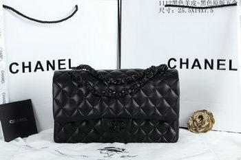 Chanel 2.55 Series Flap Bags Sheepskin Leather A1112 Black