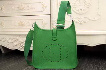 Hermes Evelyne 28cm Messenger Bag Original Leather H1188 Green