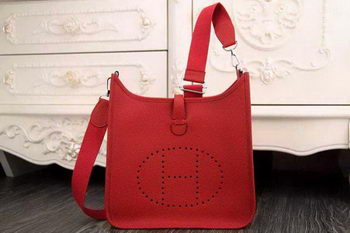 Hermes Evelyne 28cm Messenger Bag Original Leather H1188 Red