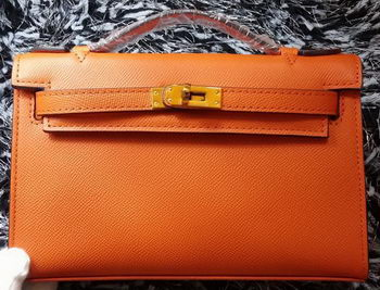 Hermes MINI Kelly 22cm Tote Bag Calf Leather K011 Orange