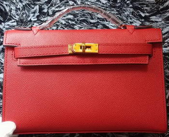 Hermes MINI Kelly 22cm Tote Bag Calf Leather K011 Red