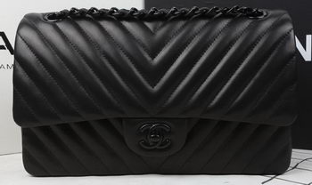 Chanel 2.55 Series Flap Bag Sheepskin Leather Chevron Quilting A1112 Black