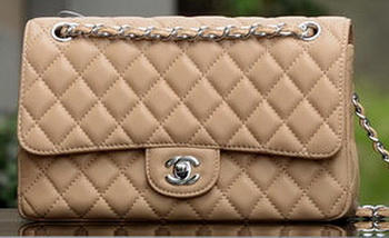Chanel 2.55 Series Flap Bag Apricot Sheepskin Leather A1112 Silver
