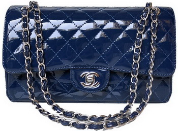 Chanel 2.55 Series Flap Bag Blue Patent Leather A1112 Silver