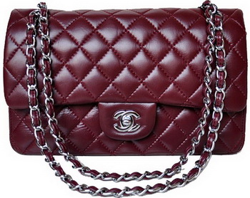 Chanel 2.55 Series Flap Bag Burgundy Patent Leather A1112 Silver