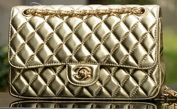 Chanel 2.55 Series Flap Bag Gold Sheepskin Leather A1112 Gold