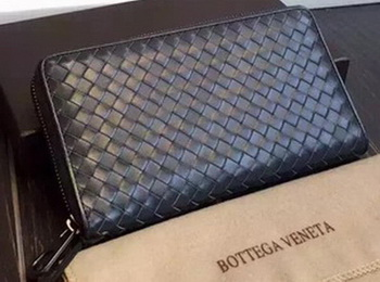 Bottega Veneta Intrecciato Nappa Zip Around Wallet BV114078 Royal