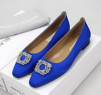 Manolo Blahnik Ballerina Satin Canvas MB095 Blue