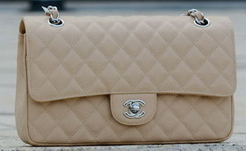 Chanel 2.55 Series Flap Bag Apricot Cannage Pattern A1112 Silver