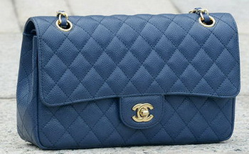 Chanel 2.55 Series Flap Bag Blue Original Cannage Pattern A1112 Gold
