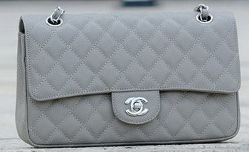 Chanel 2.55 Series Flap Bag Grey Cannage Pattern A1112 Silver