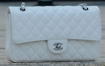 Chanel 2.55 Series Flap Bag White Cannage Pattern A1112 Silver