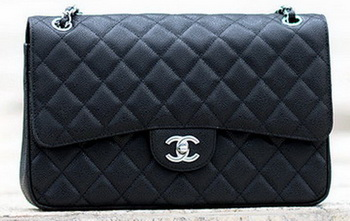 Chanel Jumbo Classic Black Cannage Pattern Flap Bag A58600 Silver
